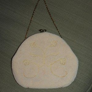 Vintage white beaded Cocktail purse by Richere